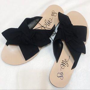 NWT So Me Black Faux Suede Sandals Size 7.5